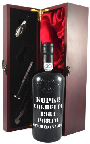 1984 Kopke Vintage Tawny Colheita Port 1984 presented in a silk lined wooden box with four wine acce