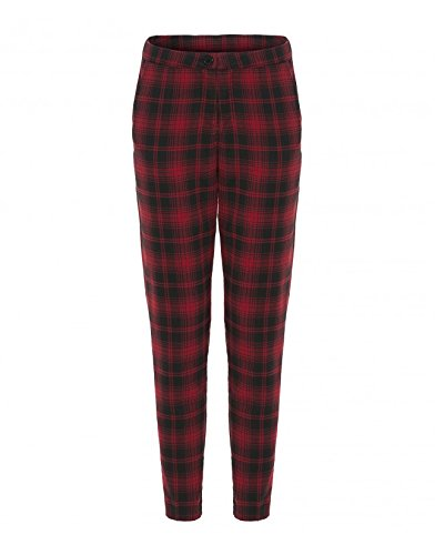 Womens Red Tartan Print Tapered Pants Ladies