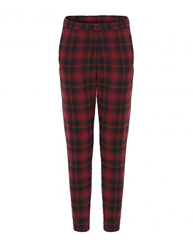 Womens Red Tartan Print Tapered Pants Ladies