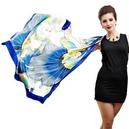 Silk Scarves Luxury Hand Painted Pure Mulberry Scarf Women's Clothing Accessory For Hair Neck Waist