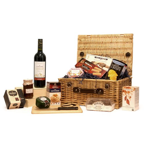 Premium Versare Red Wine 750ml & Gourmet Cheese Traditional Wicker Gift Hamper Basket