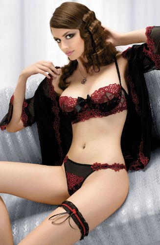 Sexy Sheer Red/Black Balconette Bra With Deep Red Embroidery Detail And Central Large Black Satin Bo