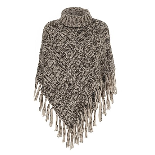 Womens Eyeful Brown Knit Poncho Ladies