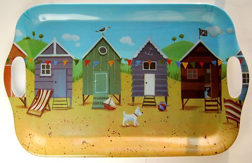 Jan Pashley Colourful Beach Huts Melamine Tray 39cm
