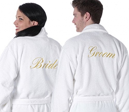 TowelsRus Bride and Groom 100% Aztex Turkish Shawl Collar Dressing Gowns Set in White