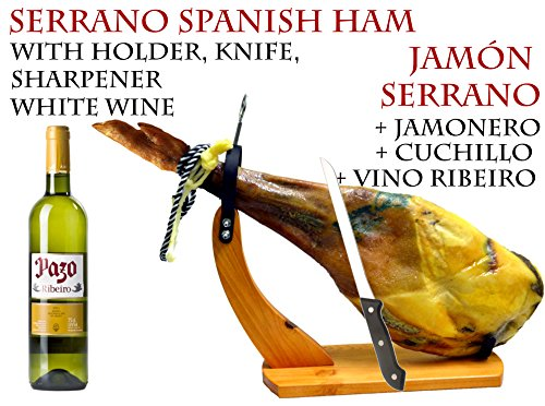 Spanish ham, Jamon Serrano Shoulder Reserva (Paleta) with holder, knife, cured 12 months, aprox. 4 k