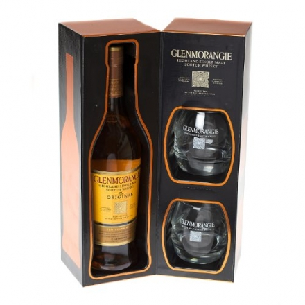 Glenmorangie 70cl Single Malt Scotch Whisky with branded tumblers