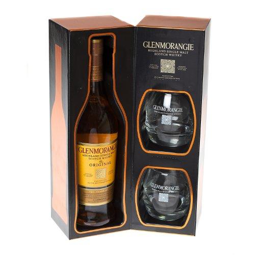 Glenmorangie 70cl Single Malt Scotch Whisky with branded tumblers
