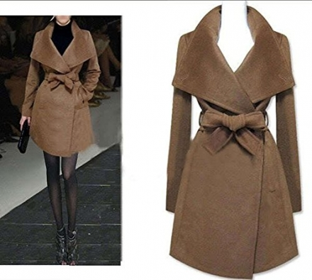 YABEIQIN Women's Winter wool Coat Cashmere Blending Wide Lapels Jacket