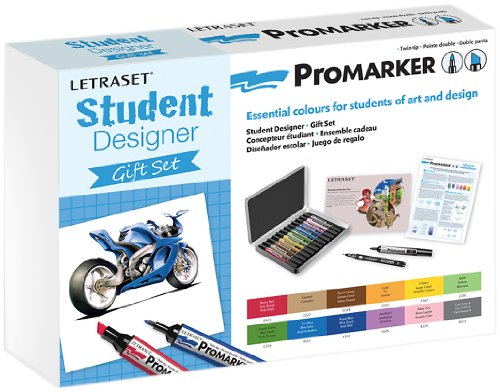 Letraset ProMarker Gift Set (12 colours + Storage tin + Bleedproof Marker Pad + Blender + Fine Line