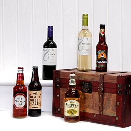 Vintage Wine, Beer & Cider Gift Chest Hamper – Includes 2 x 750ml Tonada Wines, 2 x 500ml Ales, 2 x