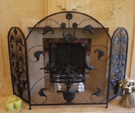 Black Wrought Iron Birds & Leaves Arched Metal and Mesh Fire Screen Guard