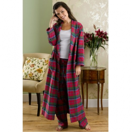 The Irish Linen Store Heather Brushed Cotton Robe