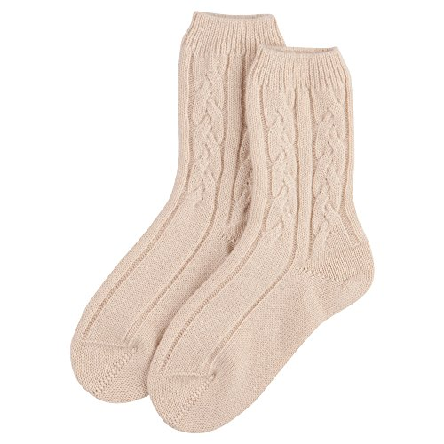 Johnstons of Elgin Cashmere Cable Socks in Sphinx