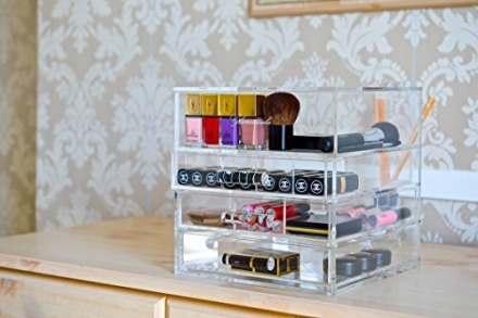 Designer Glamourcube® Mini ACRYLIC cosmetics storage clear lucite beauty case HEAVY DUTY storage ma