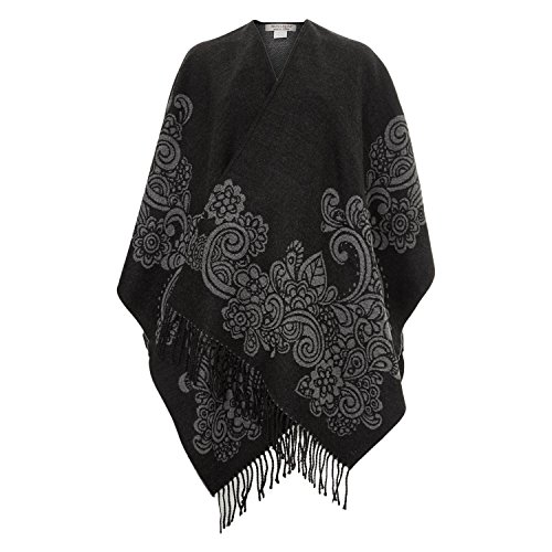 Womens Brini & Brini Dark Grey Patterned Shawl Ladies