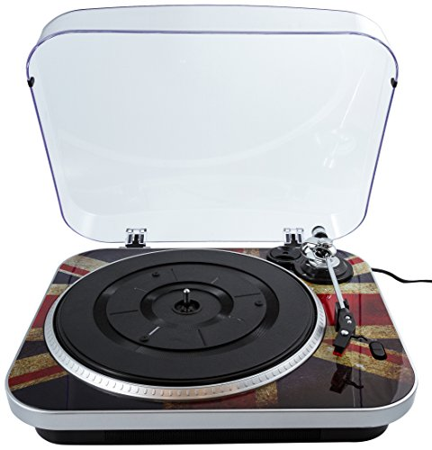 GPO Jam 3-Speed Stand Alone Vinyl Turntable with Built-In Speakers – Union Jack