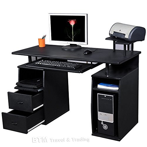 (BTM) LARGE Computer Desk with 2 Drawers and 4 Shelves for Home Office Study Workstation Furniture P