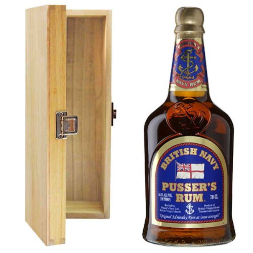 Pussers British Navy Rum in Hinged Wooden Gift Box