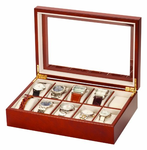 Mele & Co Luxury Walnut Wood 10 Watch Display Case Storage Box Wooden Watchbox