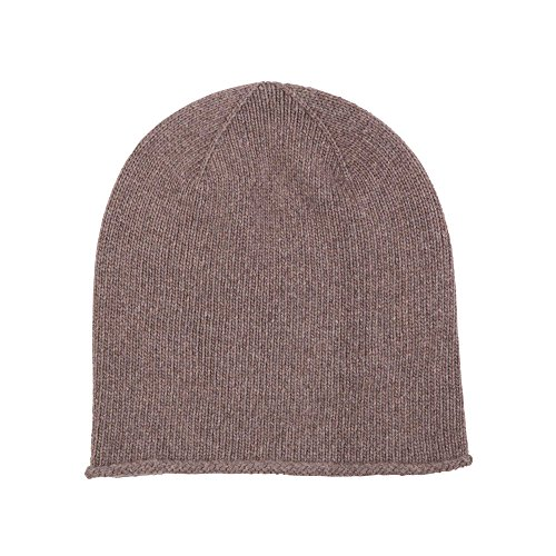 Johnstons of Elgin Cashmere Jersey Hat with Roll Trim in Driftwood