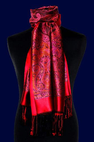 LORENZO CANA – Authentic Luxury Silk Scarf Pashmina 100% pure Silk Red Pink – 78069