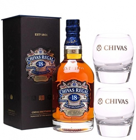 Chivas Regal 18 Year Old Whisky – Plus 2 Free Glasses – 70cl