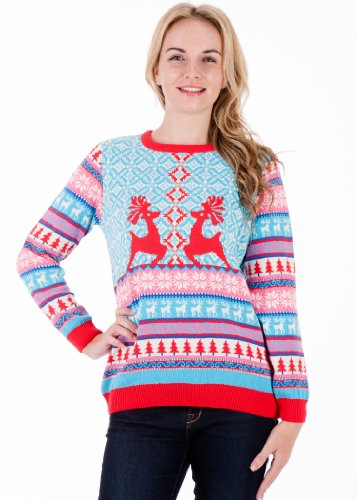 Dancing Stags – Womens Knitted Christmas Jumper Xmas Sweater- Made in the UK