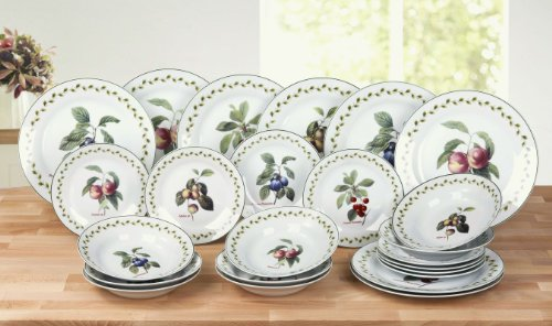 24 Piece Orchard Fruits Porcelain Dinner Set with 4 Assorted Fruits Patterns