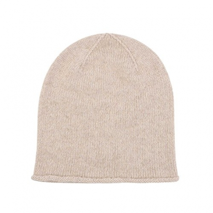 Johnstons of Elgin Cashmere Jersey Hat with Roll Trim in Dark Medium Dyed