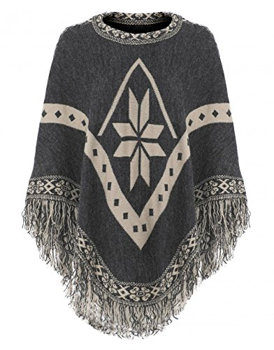 Womens Charcoal Snowflake Tassel Fringe Knitted Poncho Ladies