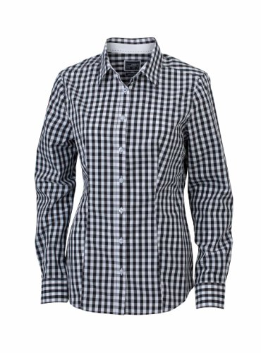 JAMES & NICHOLSON Fashionable checked shirt with uni-coloured insets on collar and cuff