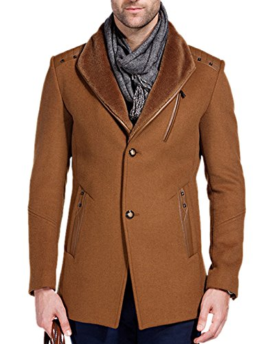Match Men's Wool Blend Car Coat Peacoat With Fur Collar