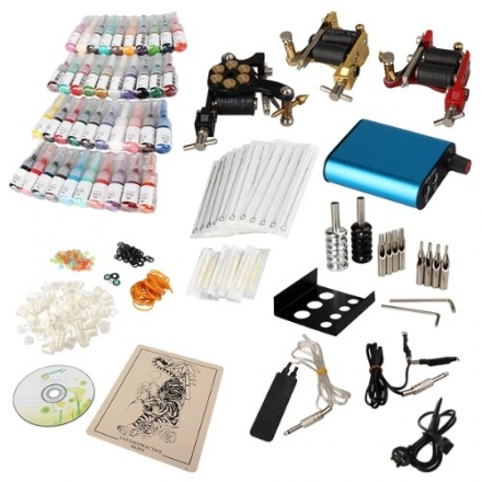Tattoo Kit 3 Machine Guns 40 Color Ink Set Needle Grip Tip Power Supply UK
