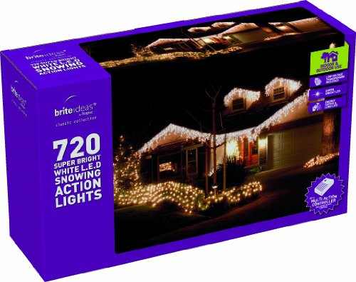 Festive 720 LED Low Voltage Snowing Icicle Lights with Snowing Controller, White