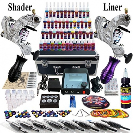 Solong Tattoo® Complete Tattoo Kit 2 Pro Machine Guns 54 Inks Power Supply Foot Pedal Needles Grips