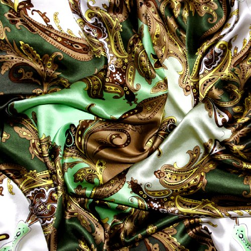 Lorenzo Cana Authentic Luxury Silk Scarf 100% pure Silk 90 x 90 cm Green Brown Beige Paisley 89025