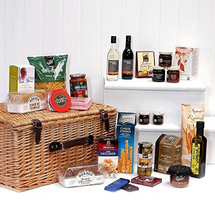 Large Luxury Wicker Christmas Hamper Basket with 40 Gourmet Food Items Including 2 Bottles of Wine