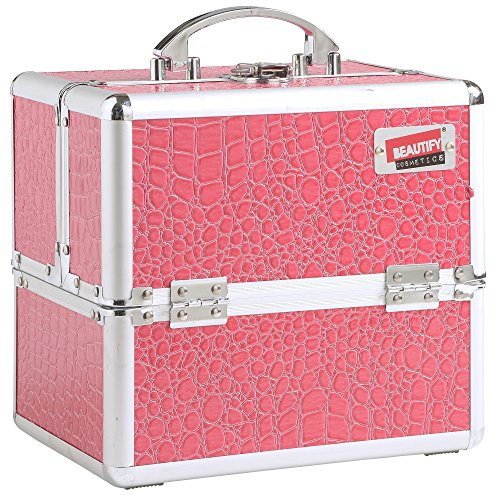 Beautify Professional Small Faux Pink Crocodile Patterned Aluminium Beauty Cosmetics & Make Up Case