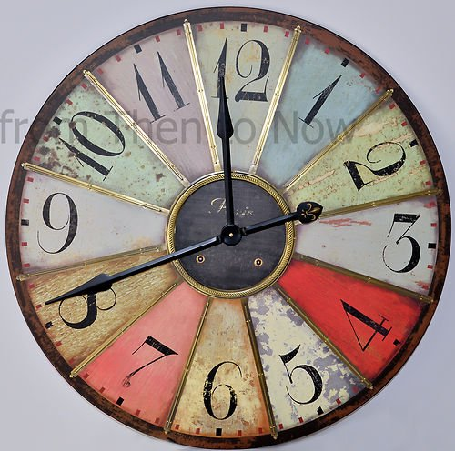 Chic Shabby Large Retro Paris Multicoloured Vintage Style Giant Wall Clock 74cm