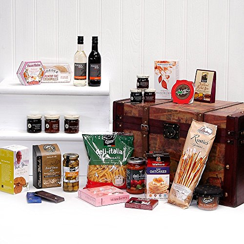 'Santa's Chest' Large Luxury Wooden Replica Vintage Christmas Chest Hamper with 40 Gourmet Food Item