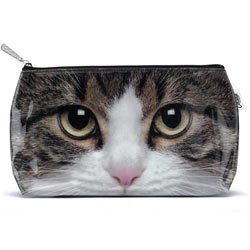 Tabby Cat – Cosmetic / Makeup Bag – Large – 7″ X 12