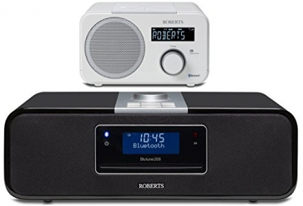 Roberts Black Blutune 200 With a FREE White Blutune 40 Bluetooth DAB DAB+ FM Radio Sound System Stre