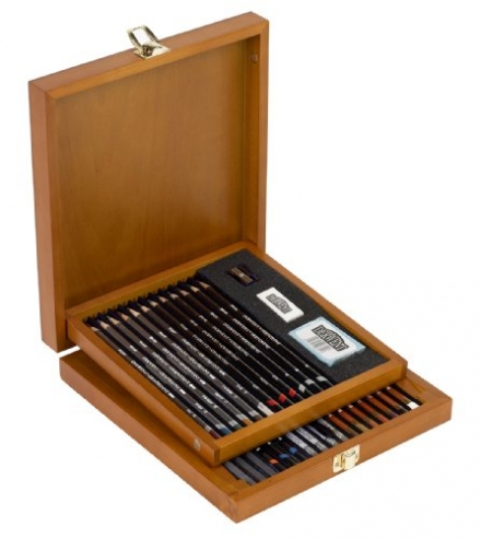 Derwent Sketching Collection Wooden Box Set of Drawing and Sketching Mixed Media with Accessories
