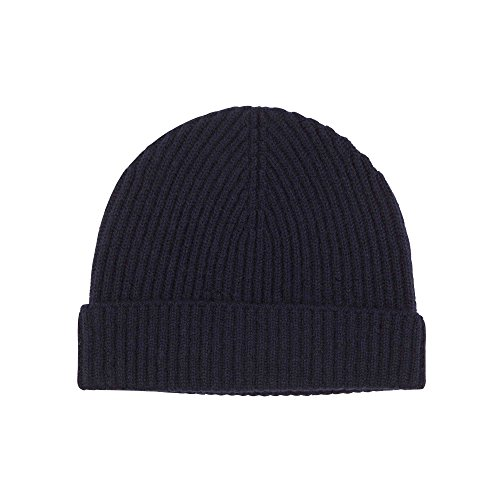 Johnstons of Elgin Cashmere Unisex Ribbed Hat in Navy