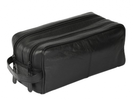 Luxury German Leather Black Global Traveller Shaving Wash Bag