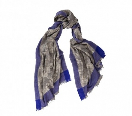 Rooi Tahiti Lightweight Cashmere and Silk Scarf – Navy and Red Paisley Border