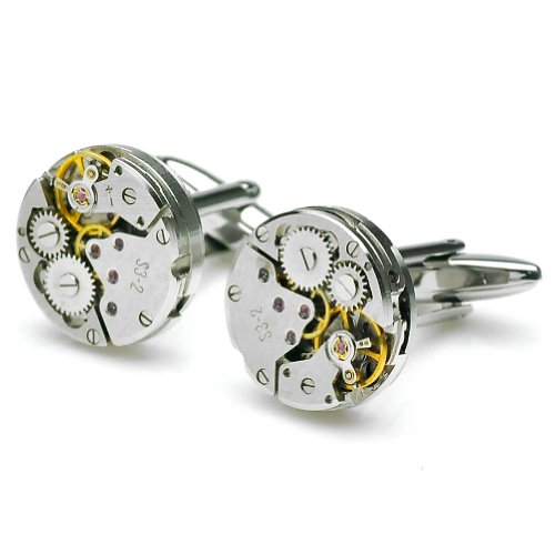 PenSee Steampunk Watch Mechanism Cufflinks for Men with Gift Box