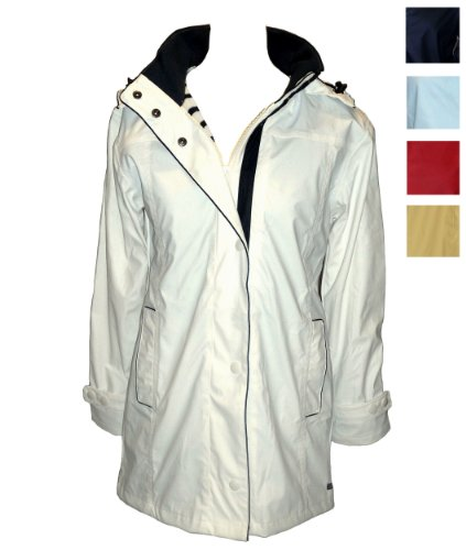 Captain Corsaire Ladies Raincoat in White, Navy, Pale Blue, Red