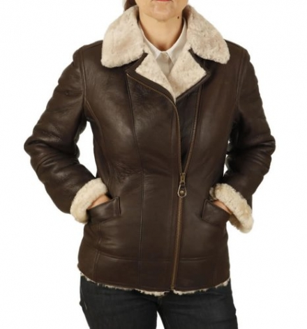 Simons Leather Ladies Cross-Over Longer Length Sheepskin Aviator Jacket